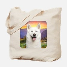 White Husky Meadow Tote Bag