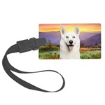 White Husky Meadow Large Luggage Tag