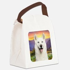 White Husky Meadow Canvas Lunch Bag
