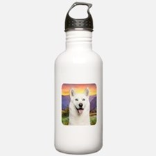 White Husky Meadow Water Bottle