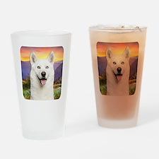 White Husky Meadow Drinking Glass