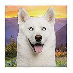 White Husky Meadow Tile Coaster