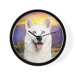 White Husky Meadow Wall Clock