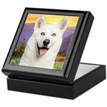White Husky Meadow Keepsake Box