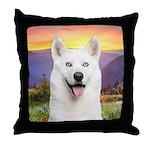 White Husky Meadow Throw Pillow