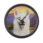 White Husky Meadow Large Wall Clock