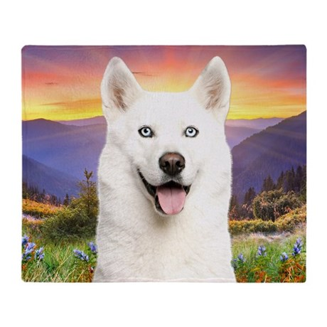 White Husky Meadow Throw Blanket