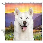 White Husky Meadow Shower Curtain