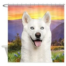 White Husky Meadow Shower Curtain