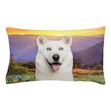 White Husky Meadow Pillow Case