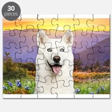 White Husky Meadow Puzzle