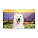 White Husky Meadow Car Magnet 20 x 12