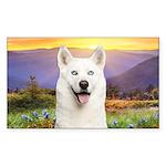 White Husky Meadow Sticker (Rectangle)