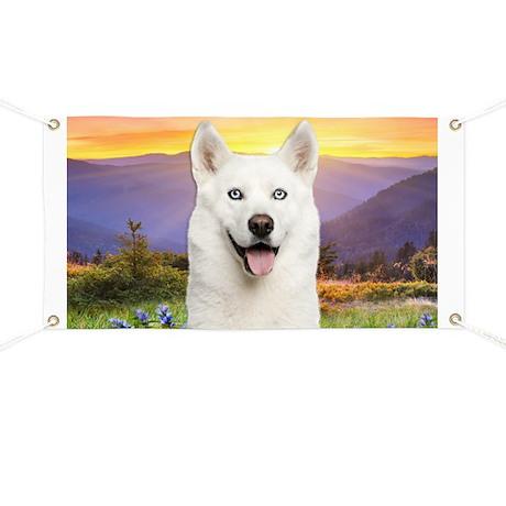 White Husky Meadow Banner