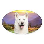 White Husky Meadow Sticker (Oval 10 pk)