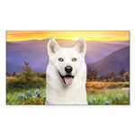 White Husky Meadow Sticker (Rectangle 10 pk)