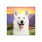 White Husky Meadow Square Sticker 3