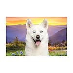 White Husky Meadow Mini Poster Print