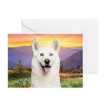 White Husky Meadow Greeting Cards (Pk of 10)