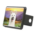 White Husky Meadow Rectangular Hitch Cover