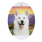 White Husky Meadow Ornament (Oval)