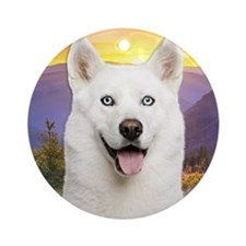 White Husky Meadow Ornament (Round)
