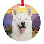 White Husky Meadow Round Ornament