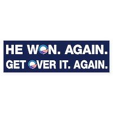Obama Won. Get Over It. Bumper Bumper Sticker
