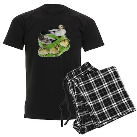 Snowy Call Duck Family Men's Dark Pajamas