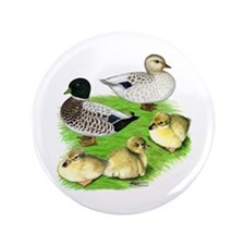 """Snowy Call Duck Family 3.5"""" Button"""
