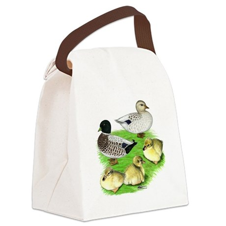 Snowy Call Duck Family Canvas Lunch Bag