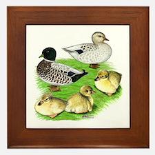 Snowy Call Duck Family Framed Tile