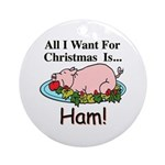 Christmas Ham Ornament (Round)