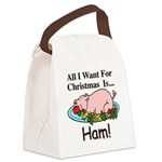 Christmas Ham Canvas Lunch Bag