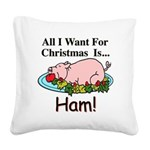 Christmas Ham Square Canvas Pillow