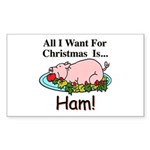 Christmas Ham Sticker (Rectangle)