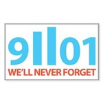 9-11-2001 We'll Never Forget Sticker