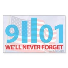 9-11-2001 We'll Never Forget, Flag Decal