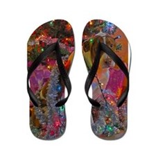 Merry Christmas Mixed Breed Flip Flops