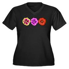 Hibiscus Tea Time Women's Plus Size V-Neck Dark T-