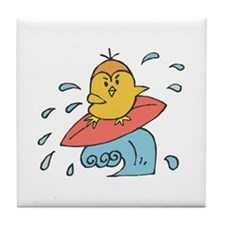 Surfing Canary Tile Coaster