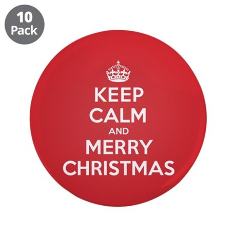 "Keep Calm Merry Christmas 3.5"" Button (10 pack)"