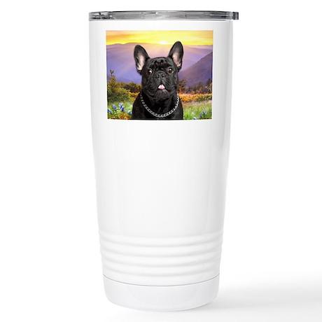 French Bulldog Meadow Stainless Steel Travel Mug