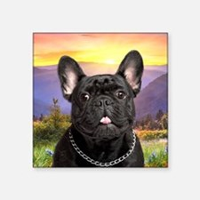 "French Bulldog Meadow Square Sticker 3"" x 3"""