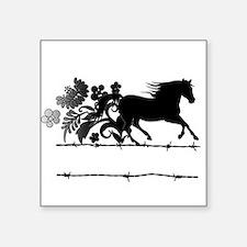 "Horse Barbwire Girly Square Sticker 3"" x 3"""