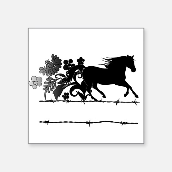 "Horse Barbwire Girly Square Sticker 3"" x 3"""