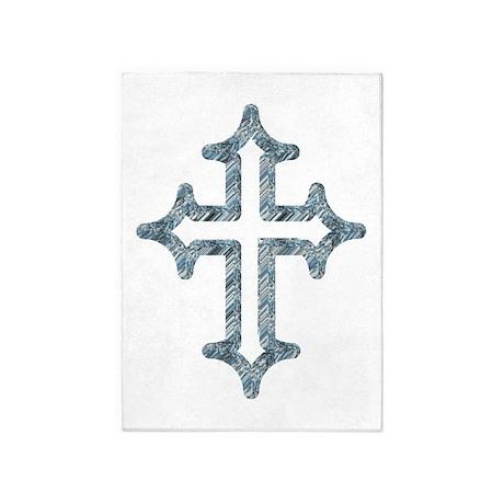Blue Cross 5'x7'Area Rug