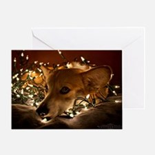 Corgi in Lights Greeting Card