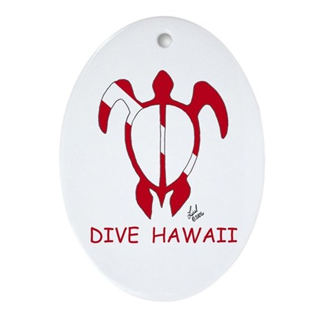 Hawaii Dive Oval Ornament