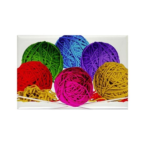 Great Balls of Bright Yarn! Rectangle Magnet